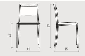 Silla cocina o comedor en cuero y metal domo formihogar for Medidas silla comedor
