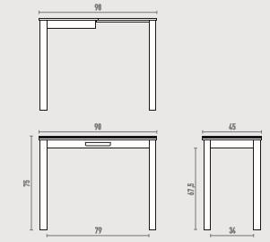 Mesa para cocinas estrechas, extensible 90x45 City y con cajón